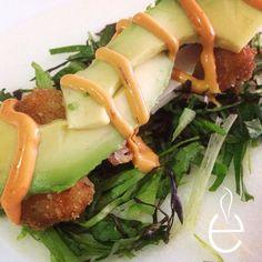 Tacos de jicama con camaron, lechugas mixtas, aguacate y aderezo SpicyMayo #LosEspejos pedidos 83367064