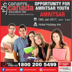 It's going to be a special day for Amritsar's youth tomorrow as #Canam brings Canada Education Fair where you can get detailed information about all the best colleges and education opportunities in your dream country Canada. Register now to make your dreams come true! #CanadaEducationFair #CanamConsultants. Register Today!