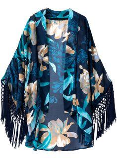 Kimono floral suelto flecos manga larga-azul 20.25
