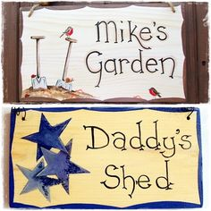 This is a lovely Wooden Plaque for use outdoors. It can be personalised to your requirements, eg.. Dad's Shed, Granddad's/Granddad's/Grandpa's Shed. These plaques have been finished with a good quality exterior varnish. They can be hung by wire, twine or brass screws, the choice for hanging can be made using the drop down boxes provided. The designs are as shown, you can choose your preference from the drop down box or if you would like your own choice of design please contact me and I will…