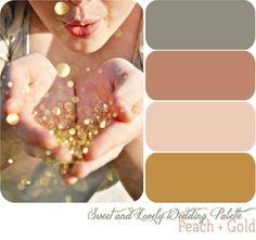 peach + gold wedding palette