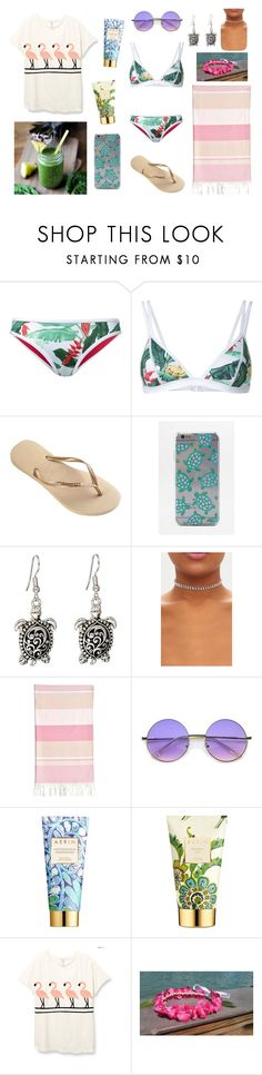 HAWAII: beach. by hawaii-paradise on Polyvore featuring Duskii, Havaianas, Skinnydip, AERIN, Linum Home Textiles and beach