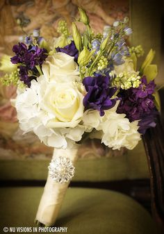 Ivory, purple, and blue flowers
