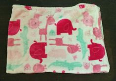 Baby blanket with pink and mint green. Elephant Baby Blanket, Baby Girl Blankets, Pink Elephant, Giraffe, Jungle Animals, Baby Animals, Security Blanket, Handmade Baby, Animal Design