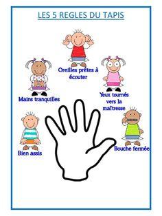 5 règles du tapis (5 règles du tapis.pdf) - Fichier PDF French Teaching Resources, Teaching French, French Language Lessons, French Lessons, French Classroom, Classroom Rules, French Education, Kids Education, Classroom Organisation