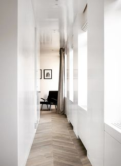 - The notion of apparent simplicity in Nicolas Schuybroek's MK House in Antwerp. A sense of warmth radiates through MK House and highlights the expertly balanced palette of white, timber and black. Living Room Flooring, Living Room Interior, Residential Interior Design, Interior Architecture, Bauhaus, Open Plan Apartment, Agi Architects, Minimalist Home, Home Design