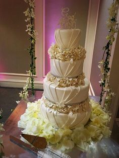 Elegant Pleated Fondant Wedding Cake