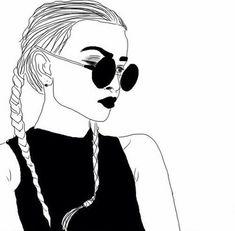 dessins de fille tumblr  | ... , dessin, sourcils, yeux, fille, cheveux, coifure, maquillage, Tumblr