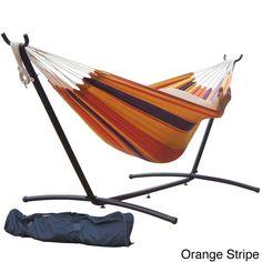 Prime Garden 9-foot Double Hammock and Steel Hammock Stand (Orange Stripe), Multi (Polyester) #PG0033, Patio Furniture