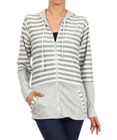 Look at this Gray Stripe Hoodie - Women on #zulily today!