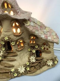 Fairy House lamp, nursery lighting, ceramic table lamp, mood lighting, ideal gift for newborn grandchild. Clay Fairy House, Gnome House, Fairy Garden Houses, Fairy Gardens, Clay Houses, Miniature Houses, Clay Crafts, Diy And Crafts, Ceramic Table Lamps