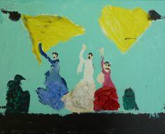 Flamencodanseres, acryl op doek