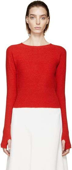 Lemaire red wool knit sweater from pre-fall 2015, cropped, high ribbing, thumbholes.