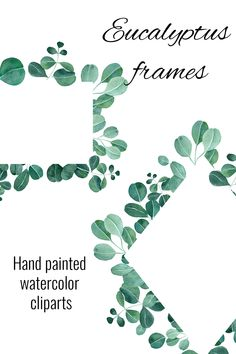 Geometric gold and leaves frames, Set of Watercolor Eucalyptus frames, Green eucaliptus twigs