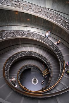 grand spiral stairway in the Vatican...part of the public tour on the way to the Sistine Chapel
