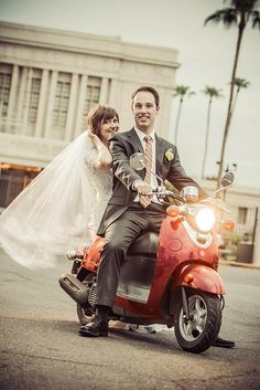 Wedding Photo on a Scooter by jerryfergusonphotography, via Flickr