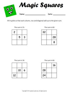 Get your students and kids started with magic squares and soon they will be whizzing through addition problems.  Magic squares are the fun way to practice math.