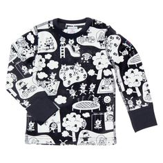 Polarn O. Pyret Baby Playtime Long Sleeve Top, Navy/White