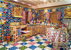 Liza Lou show opening tonight. This is a work from 2006 but wow - a replica kitchen entirely covered in beads!