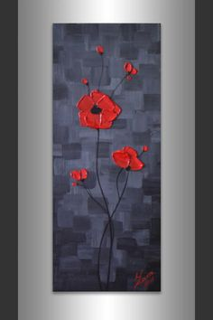 Original Still Life Floral Art Impasto Texture Red Poppies Painting Ready to Hang 8 x 20 Contemporary Mixed Media Acrylic Artwork by ZarasShop