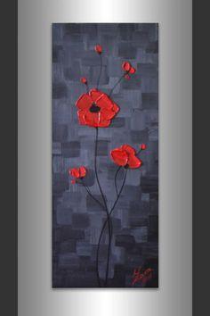 Blue painting, Red poppies painting, impasto painting, original fine art, bridal…
