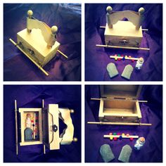 Paint a jewelry box gold. Add angels and poles for a Ark of the covenant to take home! #bible craft #moses #ten commandments