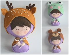 Animal Costume Doll - Felt Plush with Three Outfits - Deer, Frog and Bear