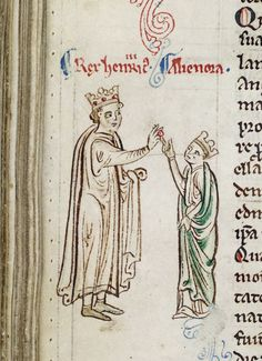 Detail of a marginal painting of the marriage of Henry III and Eleanor of Provence: Matthew Paris, Historia Anglorum, England (St Albans), Royal 14 C. vii, f. Medieval Life, Medieval Art, Canterbury Cathedral, Late Middle Ages, Plantagenet, Royal Brides, Patriarchy, Illuminated Manuscript, Coat Of Arms