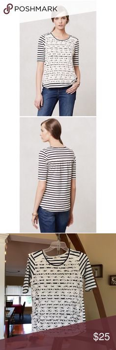 Anthropologie Lili's Closet Stripes & Clover Tee Size small. Striped top with lace front detailing. Cotton, spandex. EUC Anthropologie Tops