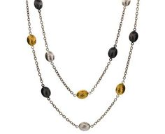 Sterling Silver layered with Blackened Silver and 24K Gold Long Tri-Metal Oval Lentil Necklace by GURHAN