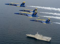 The #USNavy Blue Angels accompany Pre-Commissioning LCS Unit Coronado during a training flight over the Gulf of Mexico.