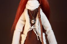 Рыжая бохо кукла Textile boho art doll tilda