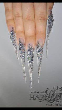>>>Cheap Sale OFF! >>>Visit>> Ị wouldnt personally wear these but these r badass looks like icecicles Long Pointed Nails, Long Stiletto Nails, Long Acrylic Nails, Crazy Nails, Dope Nails, Sharp Nails, Long Nail Art, Exotic Nails, Luxury Nails