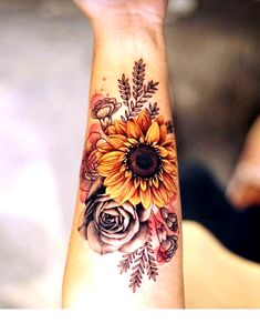 sunflowers tattoos design ideas for women - chic better - sunflowers . - sunflowers tattoos design ideas for women – chic better – sunflowers tattoos … – 40 - Sunflower Tattoo Sleeve, Sunflower Tattoos, Sunflower Tattoo Design, Colorful Sunflower Tattoo, Watercolor Sunflower Tattoo, Piercing Tattoo, Botanisches Tattoo, Tattoo Drawings, Gift Tattoo