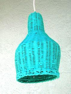 Turquoise basket pendant lighting!    Nursery Kitchen Bathroom Porch Reading room lighting decor