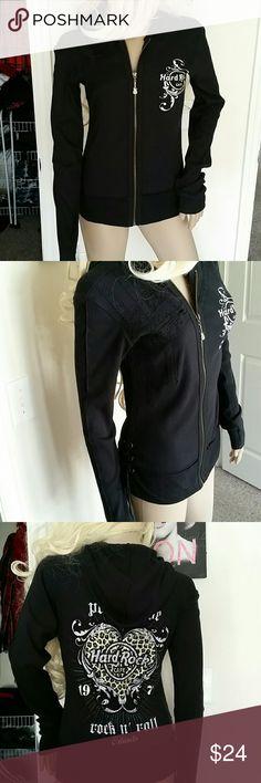 Hard rock black tiny rib/lace/hooded zip jacket S Hard rock black tiny ribbed lace top eyelets lace up on right side bottom hooded zip jacket NWOT S Hard Rock Tops Sweatshirts & Hoodies