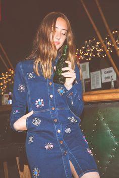 Embellished denim button down dress