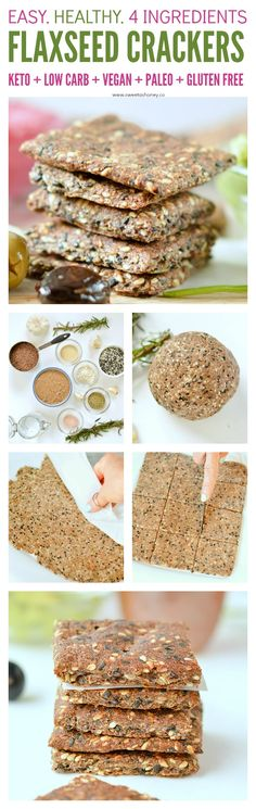 Flaxseed crackers KETO, g net carb per crackers, Paleo healthy Rosemary Garlic Sesame Crackers made of 4 simple ingredients. Keto, low carb, glute… - New Site Gluten Free Snacks, Dairy Free Recipes, Low Carb Recipes, Snack Recipes, Recipe Treats, Flour Recipes, Diet Recipes, Vegan Keto, Vegan Gluten Free