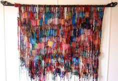 Fairtrade Textile Fabric Fibre Art Wall Hanging made with reclaimed Sari Silk and Giant Jumbo Knitting Needles