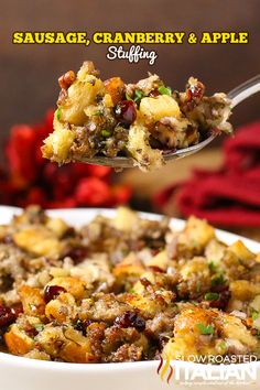 The Best Stuffing Recipe Ever starts with sausage, cranberry and apple. Herbs and spices are added in but the real magic happens as the pan is deglazed with the most glorious combination of liquids and those bits are scraped up creating the most magnificent sauce to bake the stuffing in. Oh my word! @SlowRoasted