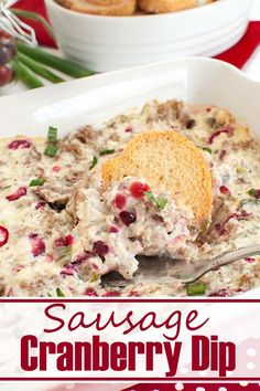 You'll LOVE this savory holiday appetizer! This easy Sausage Cranberry Cream Cheese Dip is cheesy, colorful and great for a holiday party or Thanksgiving gathering. Serve warm with bread. #appetizers #dips #sausage #cranberry #holiday #thanksgiving #christmas #snacks #partyfood Warm Appetizers, Holiday Party Appetizers, Appetizer Recipes, Bread Appetizers, Dip Recipes, Delicious Appetizers, Cranberry Cream Cheese Dip, Cream Cheese Dips, All You Need Is