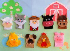 Old MacDonald Farm Felt Finger Puppets by FeltCreationsByEster