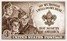 1950 Boy Scout Stamp  The 1950 stamp honoring the Boy Scouts of America. First issued in Valley Forge, Pennsylvania
