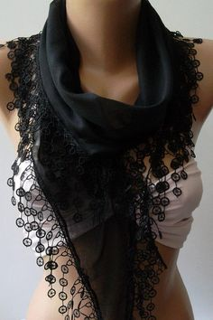 Black  Elegance Shawl / Scarf with Lace Edge by womann on Etsy, $16.90
