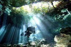 Cavern diving, Playa del Carmen, Mexico.