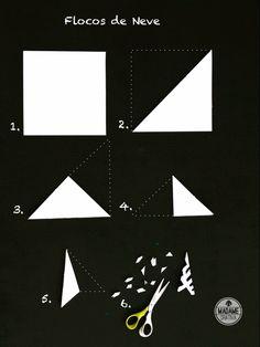 Recorte do papel -Como fazer flocos de neve de papel -  Passo a passo com fotos - cuting the paper - How make paper snowflakes - DIY tutorial  - Madame Criativa - www.madamecriativa.com.br