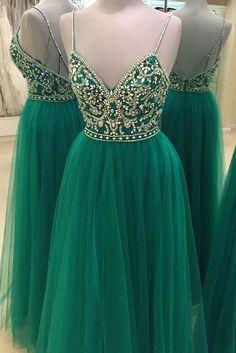 Green Beaded Prom Dress,Backless Tulle Prom Dress,Custom Made Evening Dress, New Fashion,Custom Made