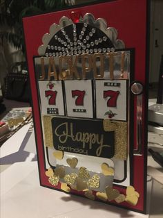Handmade Slot machine birthday card #sizzix #birthdaycard #casino