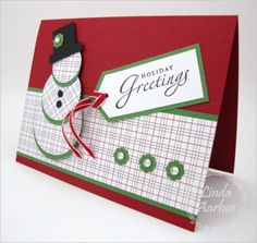 snowman Christmas card by linda aarhus. I love that the snowman matches the patterned paper, different!