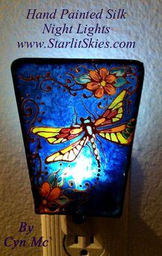Night Light Hand painted Silk Dragonfly by Cyn Mc by StarlitSkies, $23.00